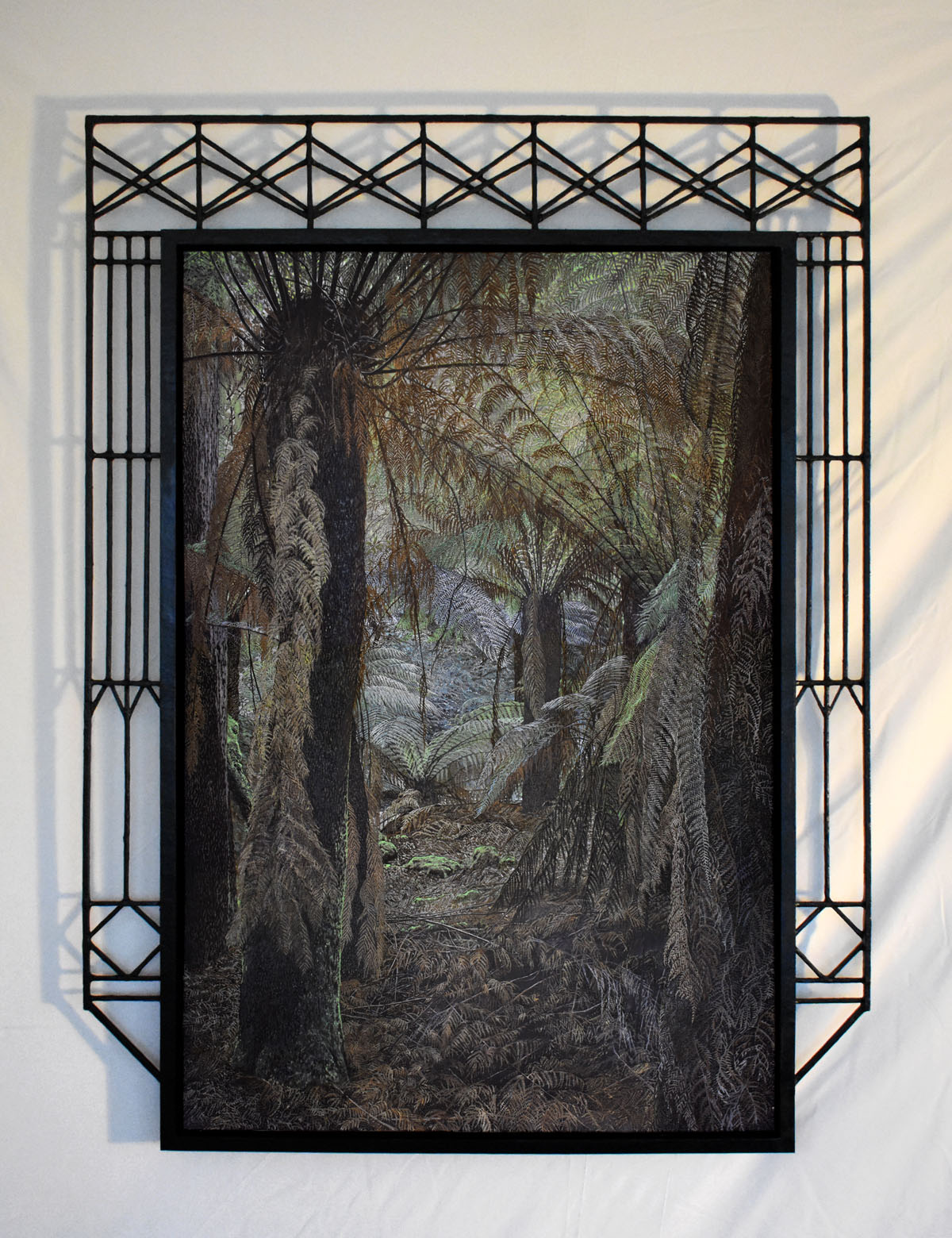 Russell Falls' Fern House, 2020 | Oil painting on canvas with papier-mâché and timber frame | 1050 x 1400mm
