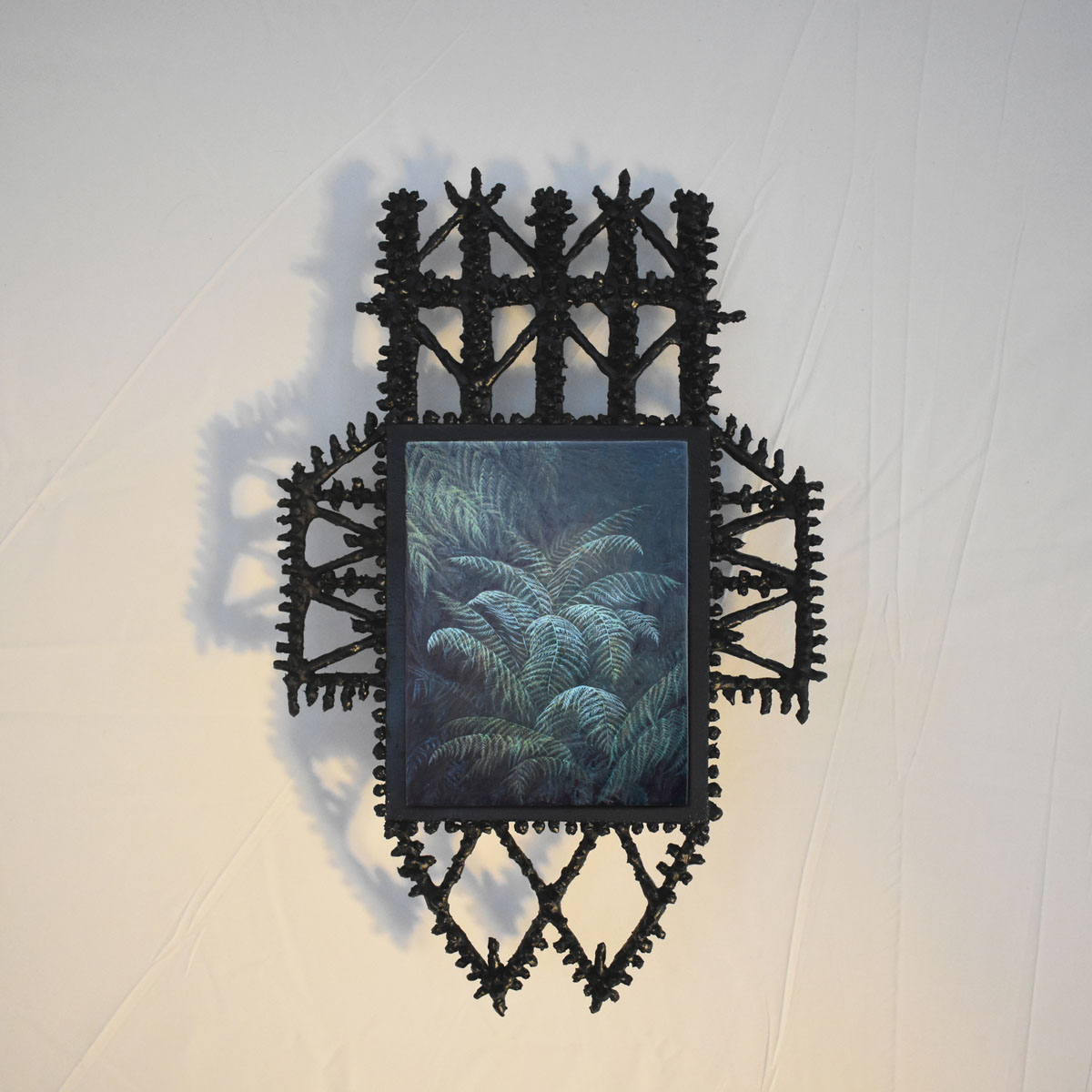Wardian Case No.4 , 2020  | Oil painting on board with papier-mâché and timber frame  | 240 x 380mm