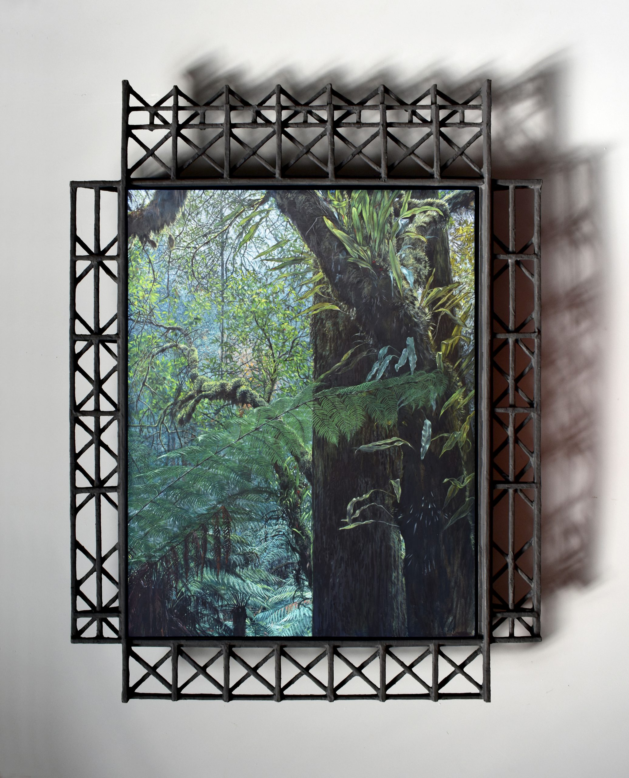 WC14 - Evercreech Epiphytes, 2020 | Oil painting on board with papier-mâché and timber frame | 850 x 640mm