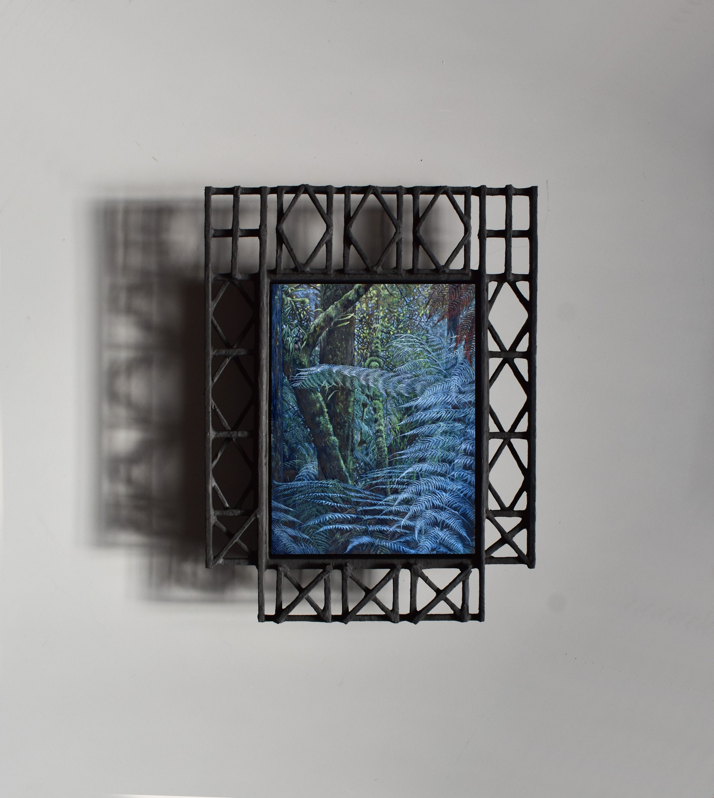 WC15 - Leaf Veils. 2020. Oil on board with timber and papier-mâché frame. 495 x 380mm